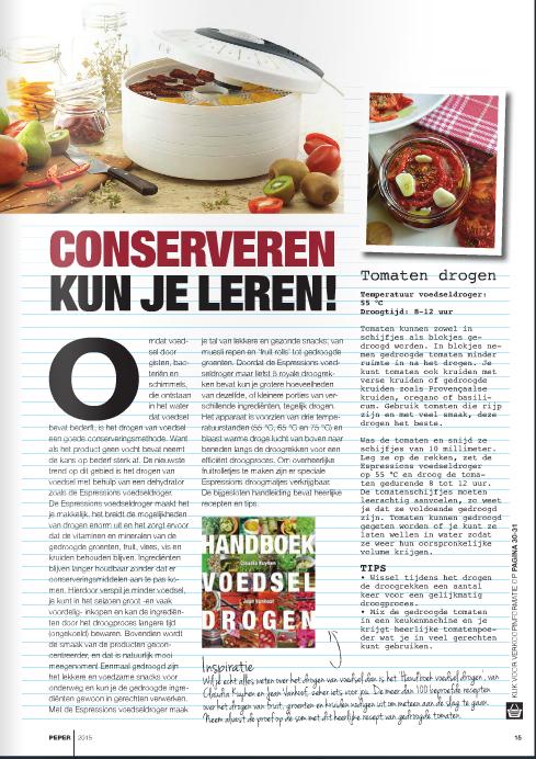 Artikel in Peper Magazine Claudia Kuyken Handboek voedsel drogen